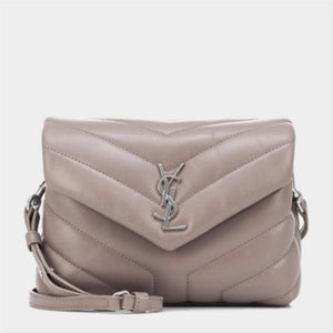 Saint Laurent Monogram Loulou Toy Grey Lambskin Leather Cross Body Bag
