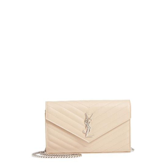 Saint Laurent Monogram Quilted Wallet On A Chain Envelope Poudre Beige Leather Cross Body Bag