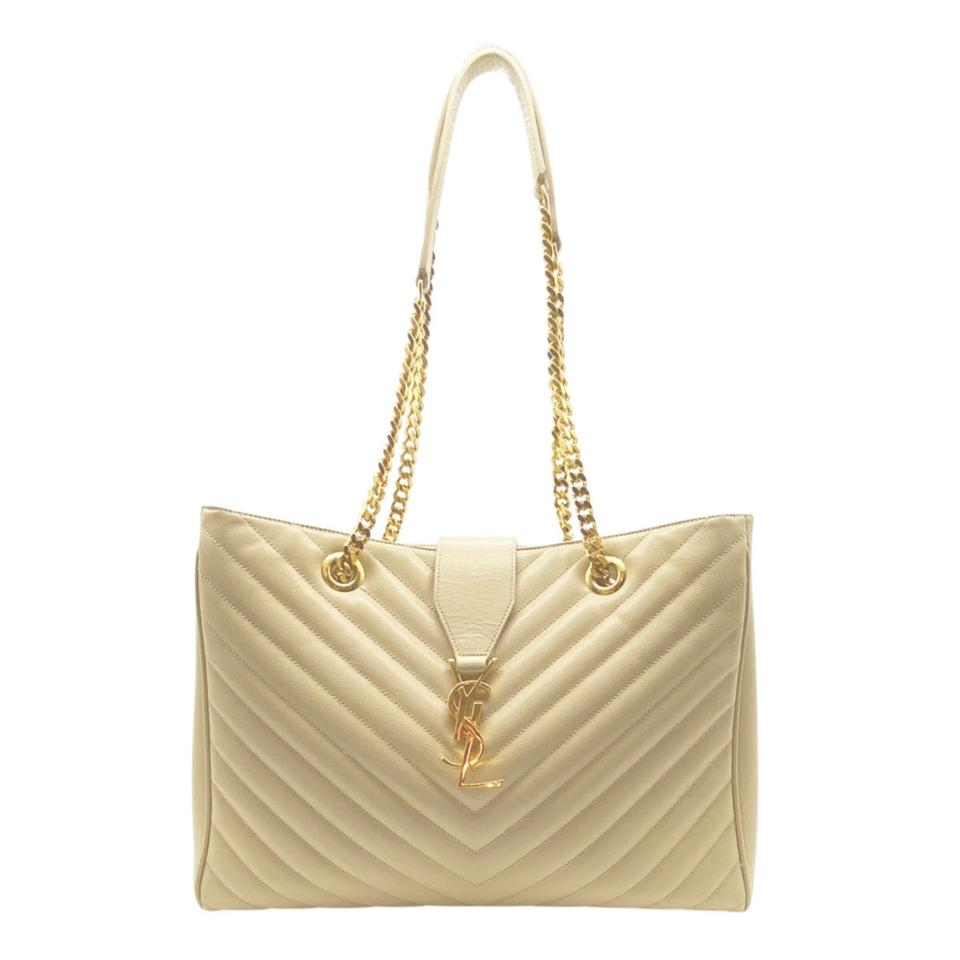 Saint Laurent Monogram Shopping Grain De Poudre Matelasse Chevron Beige Leather Shoulder Bag