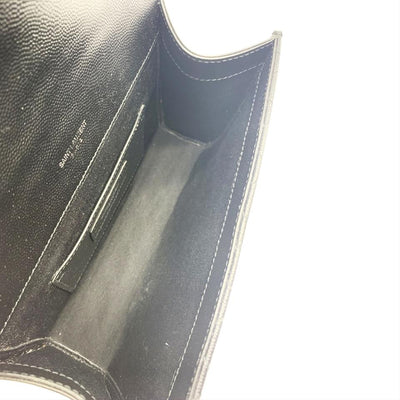Saint Laurent Monogram Ysl Envelope Small Chain - Silver Hardware Black Leather Shoulder Bag