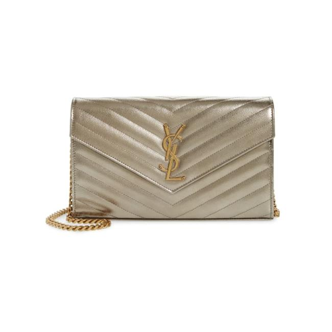 Saint Laurent Monogramme Quilted Metallic Wallet On A Chain Envelope Gold Leather Cross Body Bag