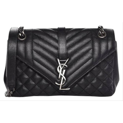 Saint Laurent Sheepskin Tri-quilt Monogram Medium College Black Leather Shoulder Bag