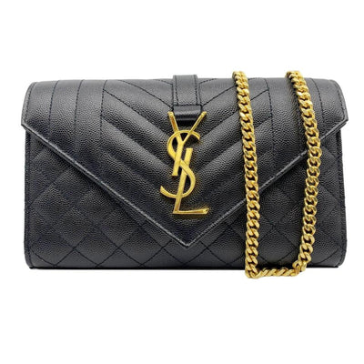 Saint Laurent Small Ysl Monogram Satchel Envelope Triquilt Black Leather Shoulder Bag