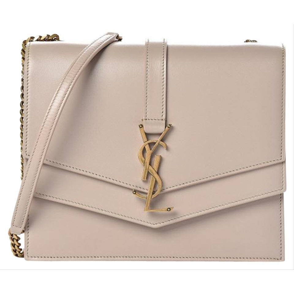Saint Laurent Sulpice Medium Monogram Light Natural Beige Leather Shoulder Bag