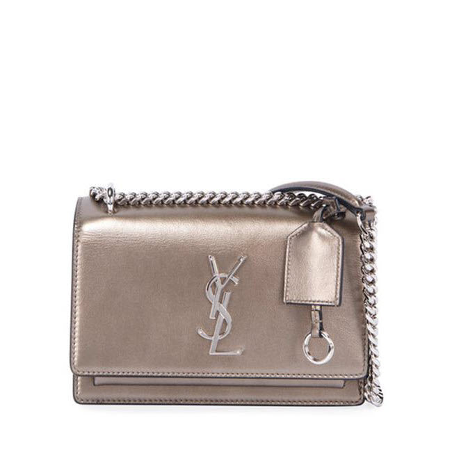 Saint Laurent Sunset Small Ysl Monogram Metallic Silver Leather Shoulder Bag