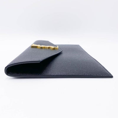 Saint Laurent Monogram Uptown Calfskin Envelope Black Leather Clutch