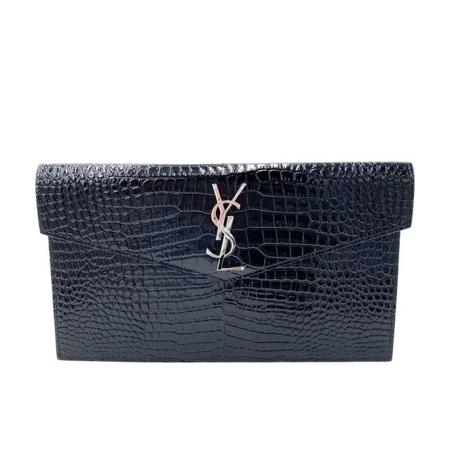 Saint Laurent Uptown Embossed Monogram Black Crocodile Skin Leather Clutch