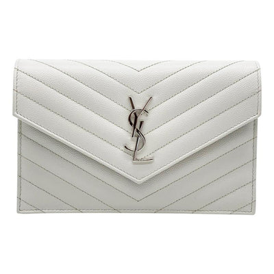 Saint Laurent Wallet Monogram Envelope Chevron Chain Woc White Leather Shoulder Bag