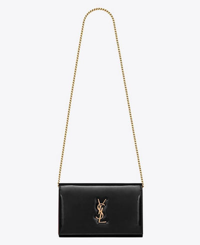 Saint Laurent Wallet on Chain Monogram Kate Monogram Ysl Black Patent Leather Shoulder Bag