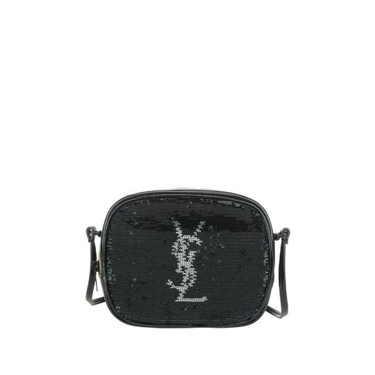 Saint Laurent Lou Camera Monogram Blogger Sequin Patent Black Leather Shoulder Bag