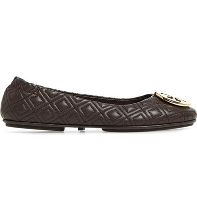 Tory Burch Brown Minnie Travel Ballet Leather Flats