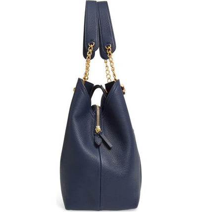Tory Burch Chelsea Slouchy Blue Leather Tote