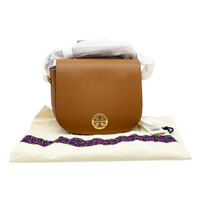 Tory Burch Everly Flap Saddle Brown Leather Shoulder Bag