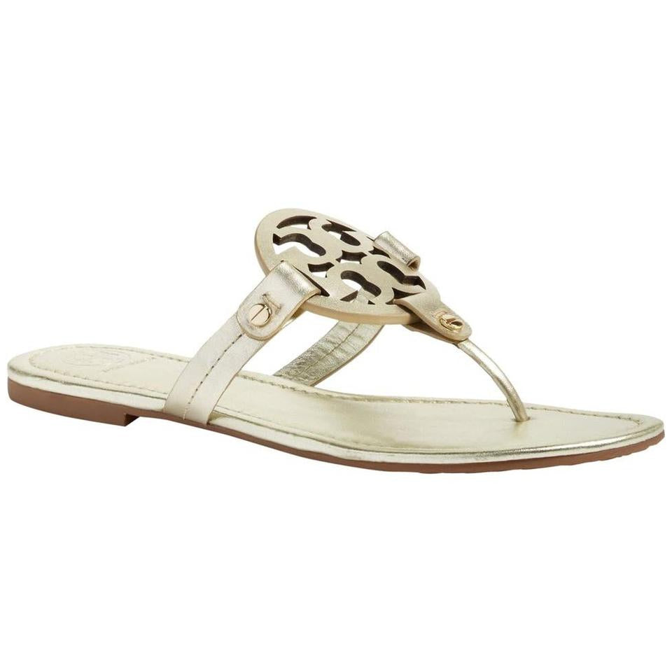 Tory Burch Gold Miller Flip Flop Flats Sandals US 4