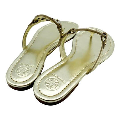 Tory Burch Gold Miller Flip Flop Metallic Sandals