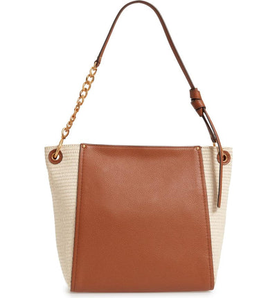 Tory Burch Hobo Everly Straw Brown Leather Tote
