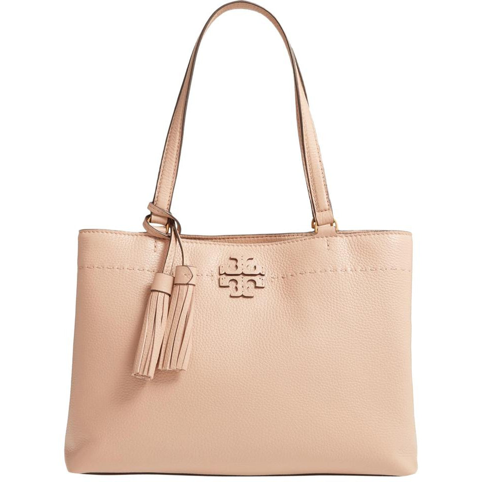Tory Burch Mcgraw Slouchy Chain Shoulder Slouchy Devon Sand Beige Leather Tote