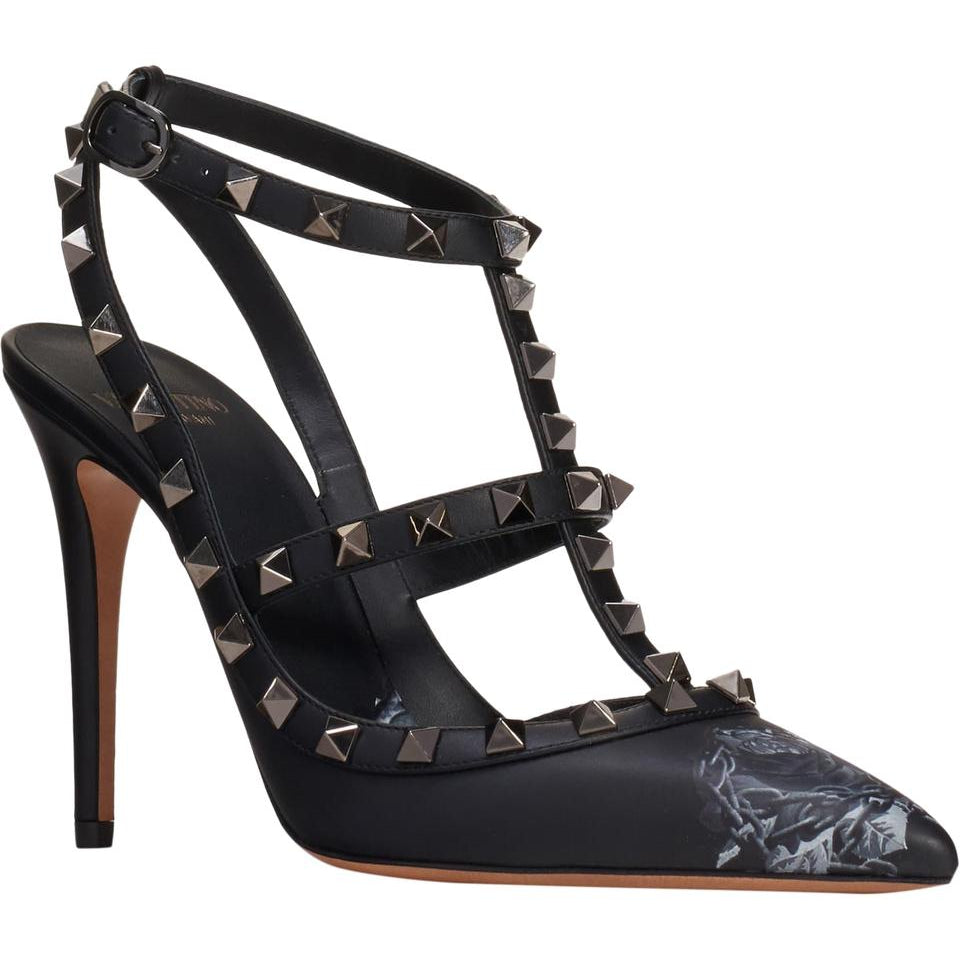 Valentino Black Rockstud Chain Rose Print T-strap Pumps