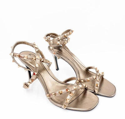 Valentino Gold Flair Rockstud Ankle Strap Sandal Sasso Metallic Pumps