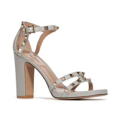 Valentino Grey Rockstud Strappy Block Heel Sandals
