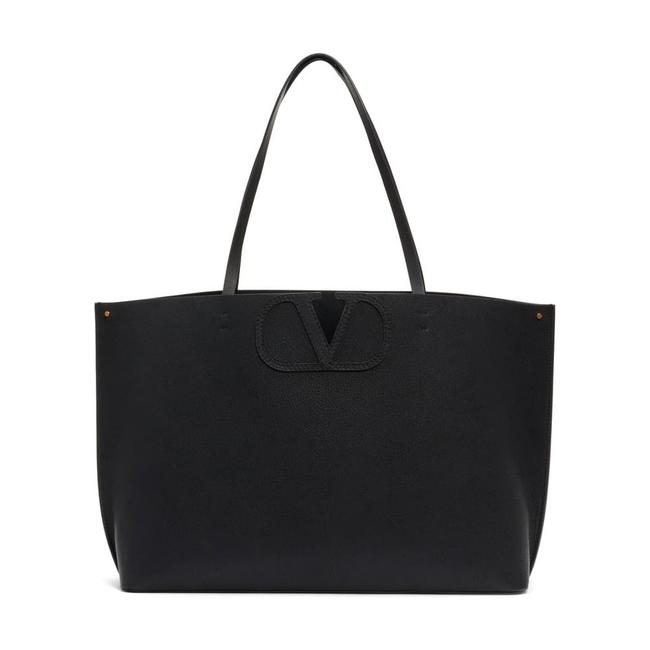 Valentino Large V-logo Black Leather Tote