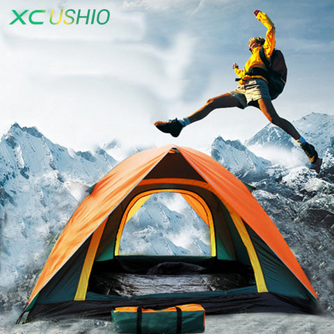 Best Seller Double Layer 3-4 Person Rainproof Outdoor Camping Tent for Hiking Fishing Hunting Adventure Picnic Party