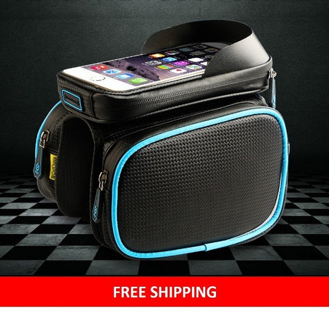 *FREE SHIPPING To U.S.* Waterproof Double Pouch Bike Bag & Phone Case For 6.0 in Cell Phone