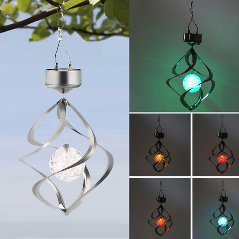 *FREE SHIPPING* Color Changing Solar Powered LED Wind Chime Wind Spinner Outdoor Hanging Spiral Garden Light & Courtyard Decoration