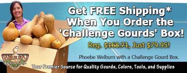 "Aug 12, 2020: FREE shipping on the ""Challenge Gourds"" box, plus fun Halloween gourd art and more!"