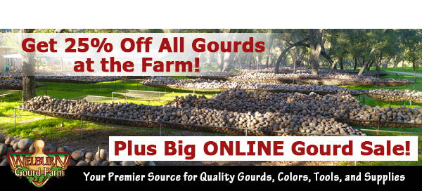 February 3, 2021: Farm Gourd Sale Starts Today, plus Get 20% off all 'Bargain Quality' Gourds Online!