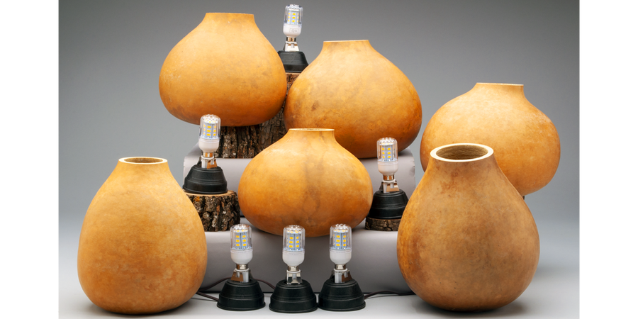 Gourd Lamps, Pre-Cut and Craft-Ready