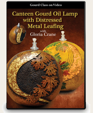 Canteen Gourd Oil Lamp with Distressed Metal Leafing - Gloria Crane