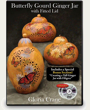 Butterfly Gourd Ginger Jar with Fitted Lid - Gloria Crane