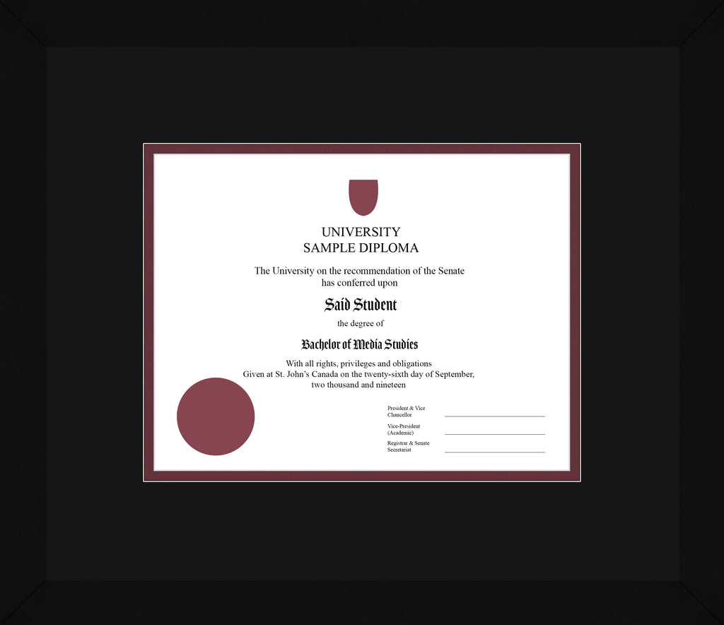 Black Cube Diploma Frame - Curbside Drop Off Newfoundland Canvas Black Maroon Regular