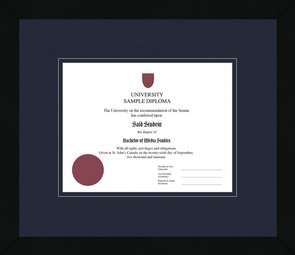 Black Cube Diploma Frame - Curbside Drop Off Newfoundland Canvas Blue Moon Blue Moon Regular