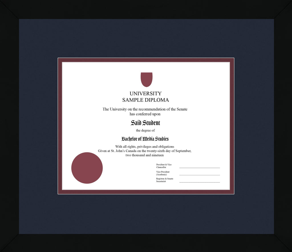 Black Cube Diploma Frame - Curbside Drop Off Newfoundland Canvas Blue Moon Maroon Regular