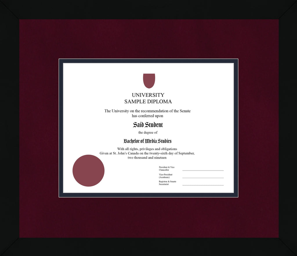 Black Cube Diploma Frame - Curbside Drop Off Newfoundland Canvas Burgundy Suede Blue Moon Regular