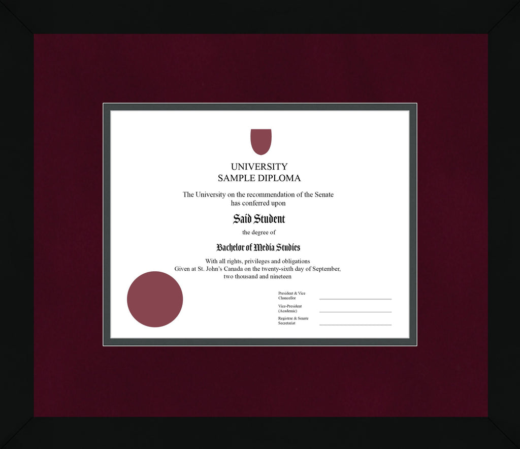 Black Cube Diploma Frame - Curbside Drop Off Newfoundland Canvas Burgundy Suede Iron Regular