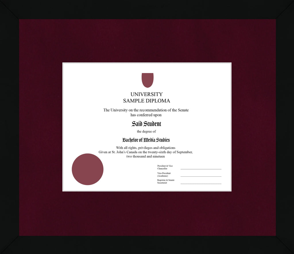Black Cube Diploma Frame - Curbside Drop Off Newfoundland Canvas Burgundy Suede None Regular