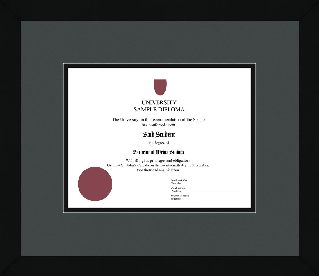 Black Cube Diploma Frame - Curbside Drop Off Newfoundland Canvas Iron Black Regular
