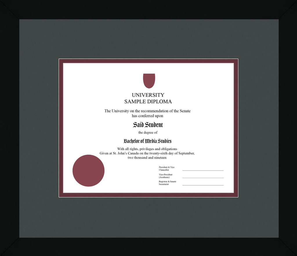 Black Cube Diploma Frame - Curbside Drop Off Newfoundland Canvas Iron Maroon Regular