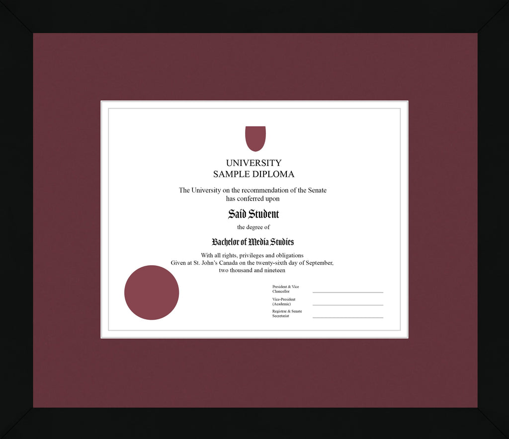 Black Cube Diploma Frame - Curbside Drop Off Newfoundland Canvas Maroon White Regular