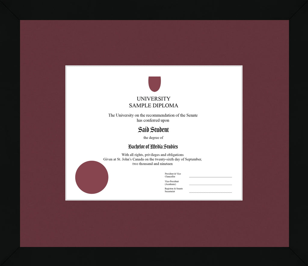 Black Cube Diploma Frame - Curbside Drop Off Newfoundland Canvas Maroon None Regular