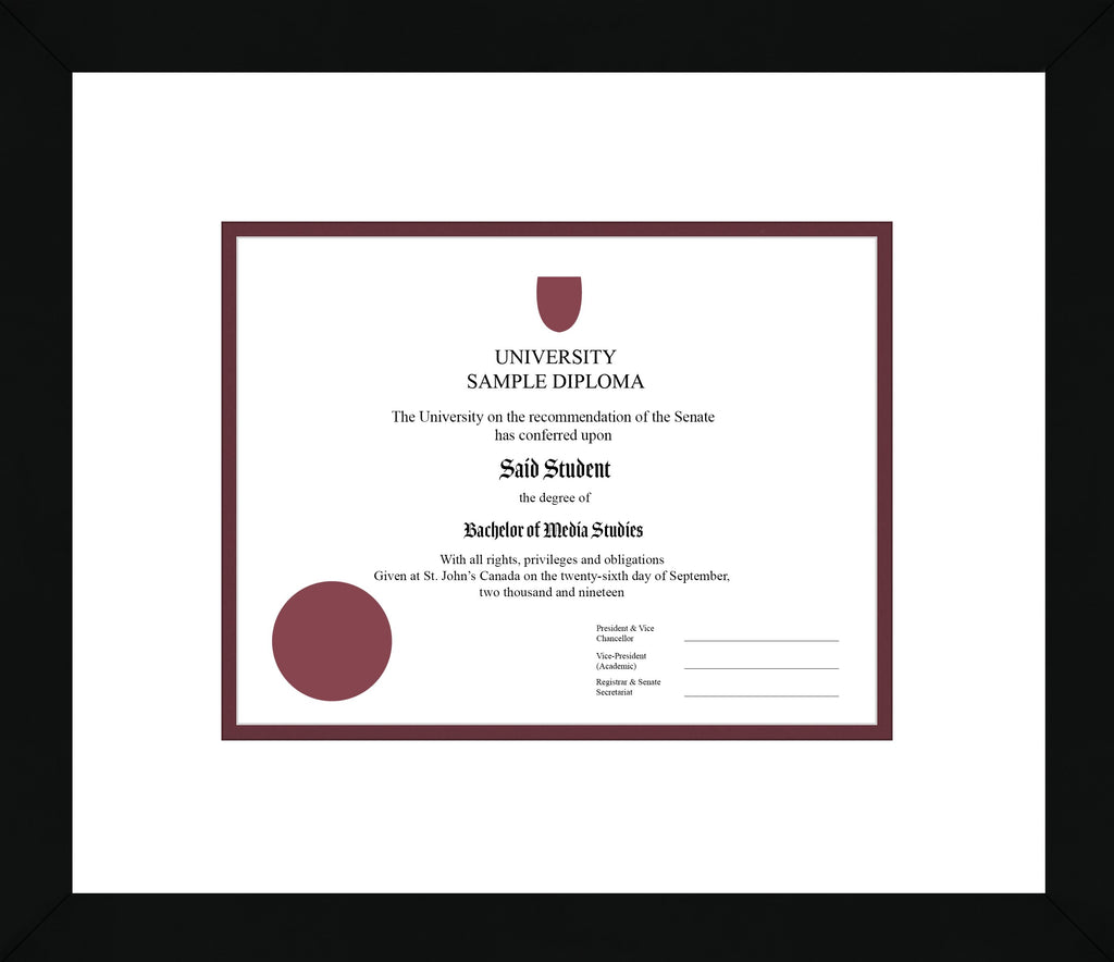 Black Cube Diploma Frame - Curbside Drop Off Newfoundland Canvas White Maroon Regular