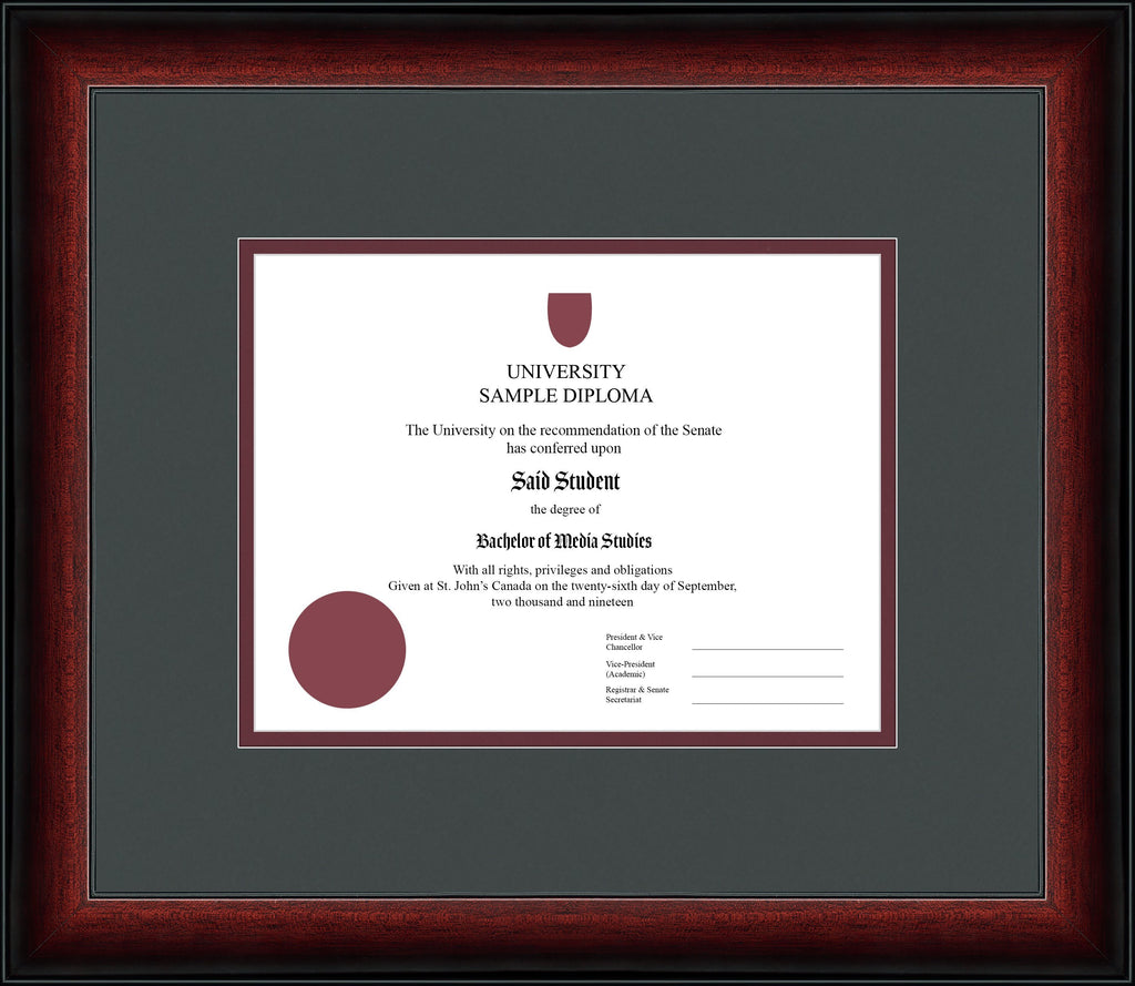 Cherry Classic Diploma Frame - Curbisde Drop Off Newfoundland Canvas Iron Maroon Regular