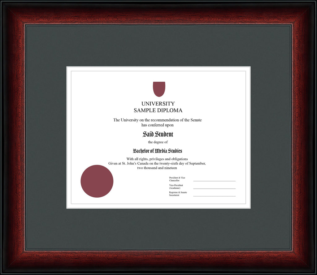 Cherry Classic Diploma Frame - Curbisde Drop Off Newfoundland Canvas Iron White Regular