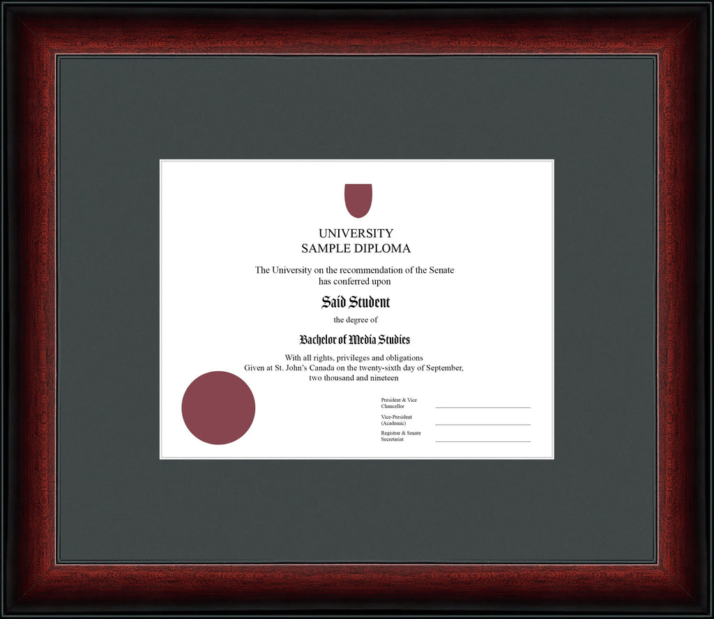 Cherry Classic Diploma Frame - Curbisde Drop Off Newfoundland Canvas Iron None Regular