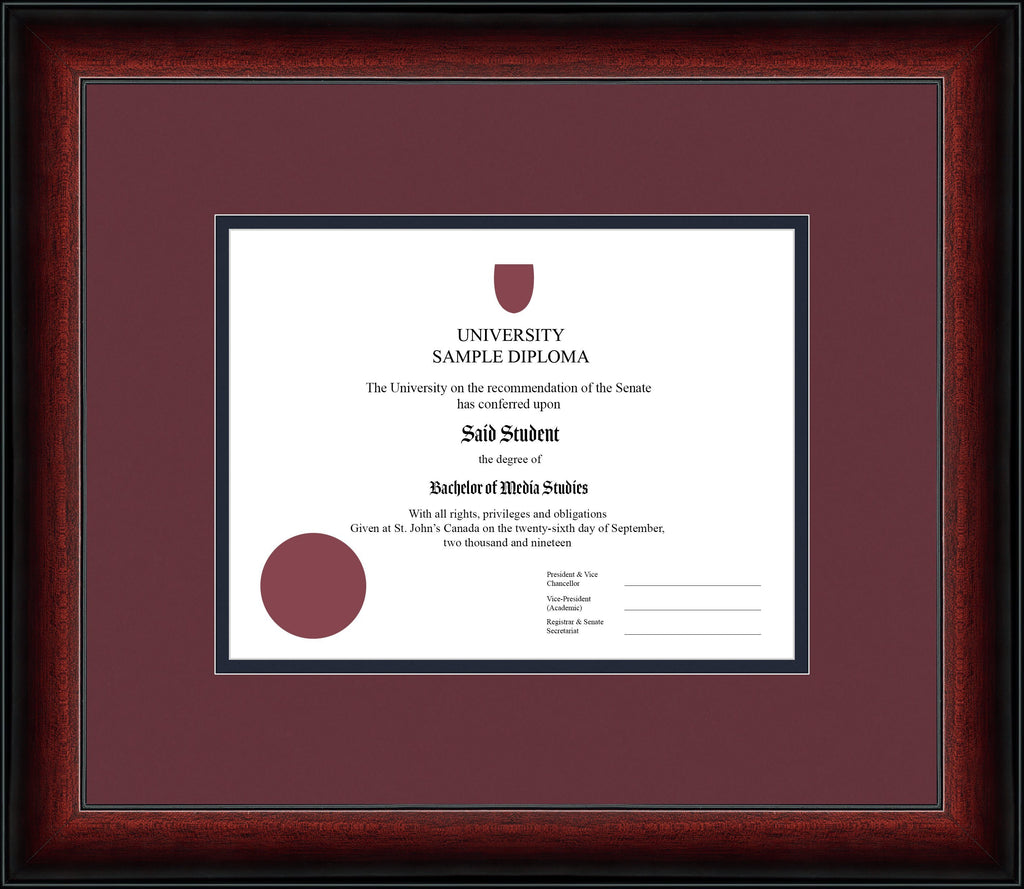 Cherry Classic Diploma Frame - Curbisde Drop Off Newfoundland Canvas Maroon Blue Moon Regular