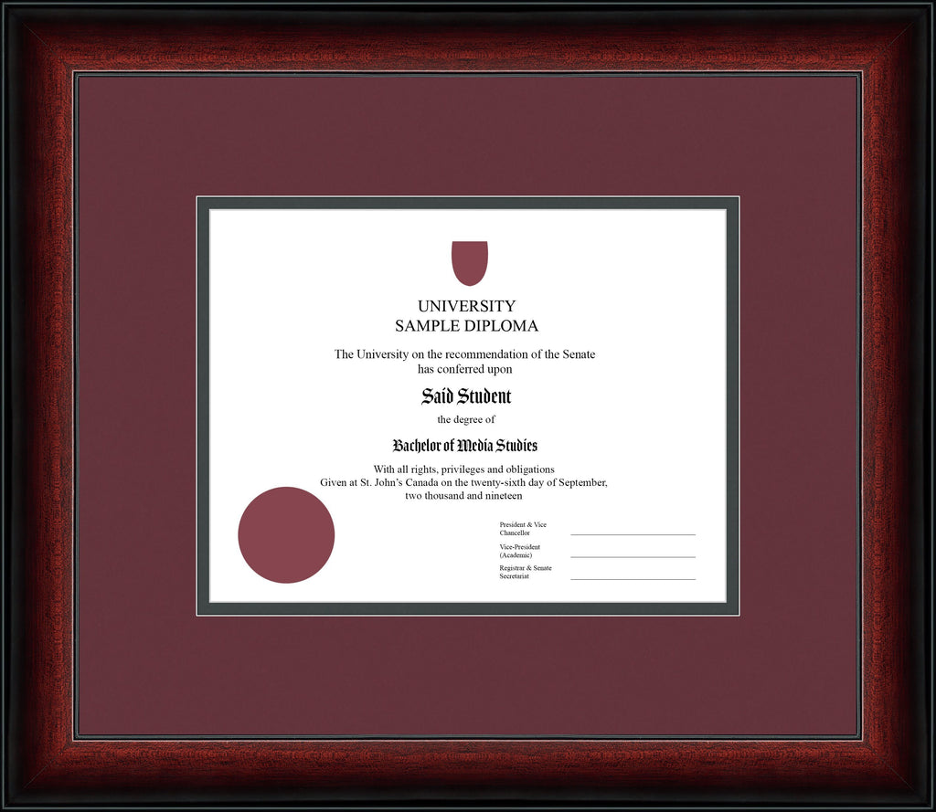 Cherry Classic Diploma Frame - Curbisde Drop Off Newfoundland Canvas Maroon Iron Regular