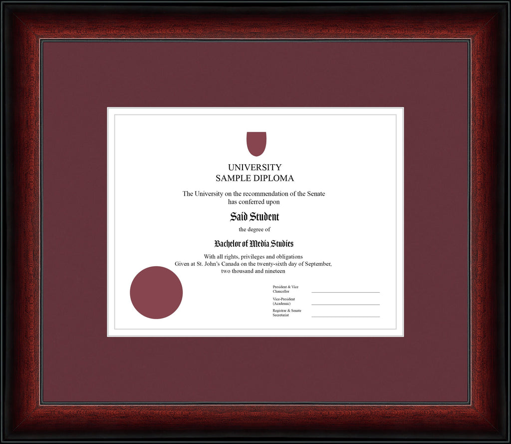 Cherry Classic Diploma Frame - Curbisde Drop Off Newfoundland Canvas Maroon White Regular